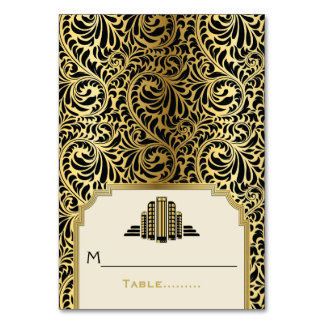 Art Deco buildings black, gold wedding place card Table Cards