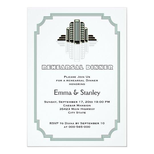 Art Deco buildings mint wedding rehearsal dinner Card