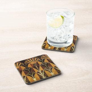 Art Deco Burl Wood Beverage Coasters