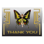 Art Deco Butterfly Flapper Thank you note cards