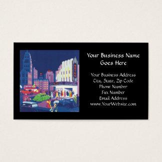 Art Deco Calcutta City Theatre Scene High Contrast Business Card