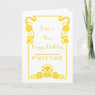 Art Deco Calligraphy White and Gold Birthday Card