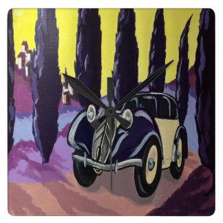 Art Deco car square wall clock