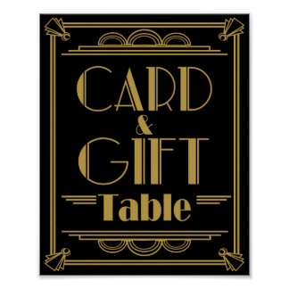 Art Deco Card and gift table wedding signs