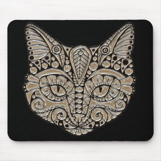 Art deco cat jewel emblem mousepad