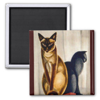 Art Deco Cats Square Magnet