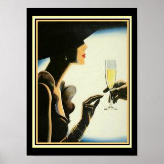 "Art Deco ""Champagne"" 12 x 16 Print"