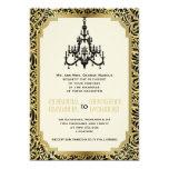 Art Deco chandelier black, gold wedding 13 Cm X 18 Cm Invitation Card
