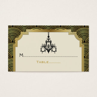 Art Deco chandelier black, gold wedding place card