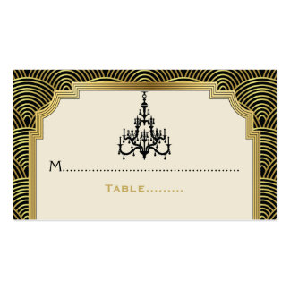 Art Deco chandelier black, gold wedding place card Pack Of Standard Business Cards