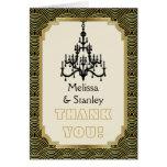 Art Deco chandelier black, gold wedding Thank You Note Card