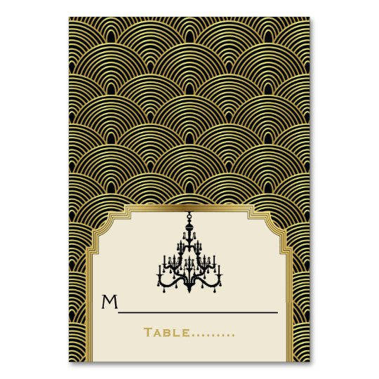 Art Deco chandelier seigaiha wedding place card
