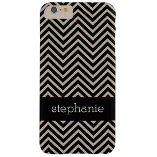 Art Deco Chevrons Beige and Black Custom Name Barely There iPhone 6 Plus Case
