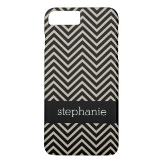 Art Deco Chevrons Beige and Black Custom Name iPhone 8 Plus/7 Plus Case