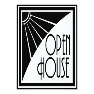 Art Deco Chic Black and White Open House Custom 13 Cm X 18 Cm Invitation Card