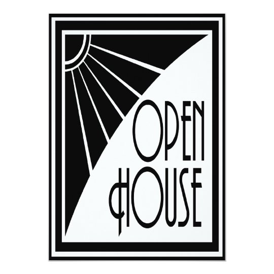 Art Deco Chic Black and White Open House