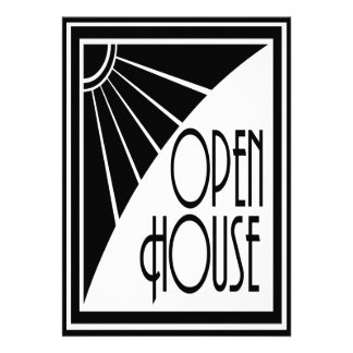 Art Deco Chic Black and White Open House Custom Invites