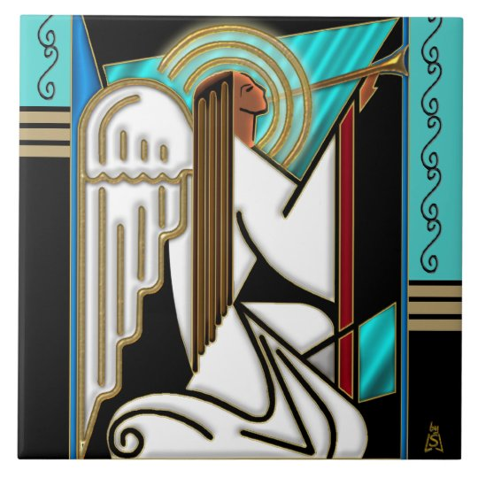Art Deco Christmas Angel (Ceramic Tile) Large Square
