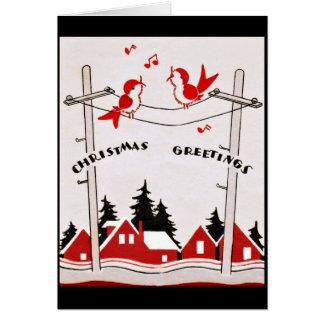 Art Deco Christmas Birds Card