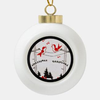 Art Deco Christmas Birds Ceramic Ball Decoration