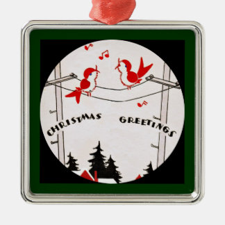 Art Deco Christmas Birds Christmas Ornament