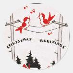 Art Deco Christmas Birds Round Sticker