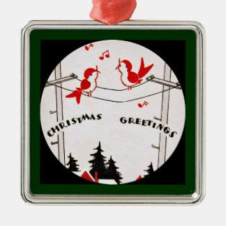 Art Deco Christmas Birds Silver-Colored Square Decoration