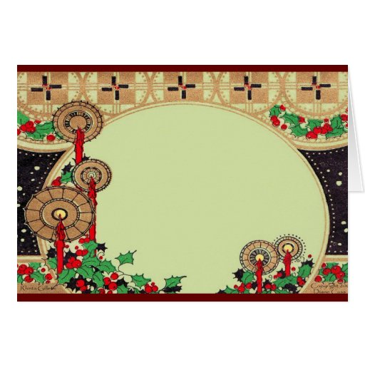 Art Deco Christmas Candles Greeting Cards