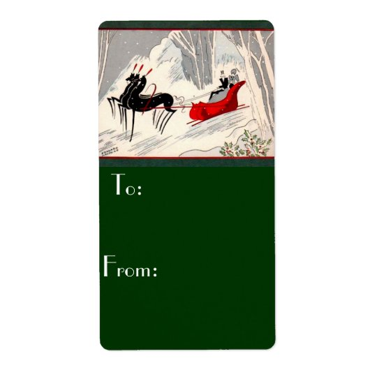 Art Deco Christmas Gift Tage Shipping Label