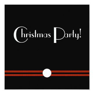 Art Deco Christmas Party in Black and White Custom 13 Cm X 13 Cm Square Invitation Card