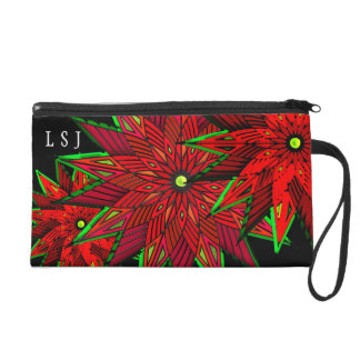 Art Deco Christmas Poinsettias (Personalized) Wristlet Clutch
