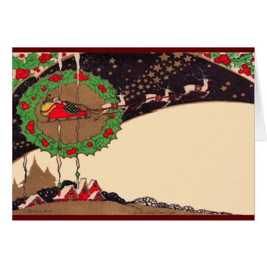 Art Deco Christmas Santa Greeting Card