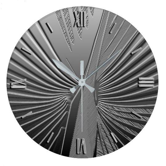 Art Deco chrome palm leaf Large Clock
