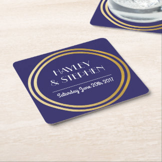 Art Deco Coasters Navy Gold Circle Wedding Party