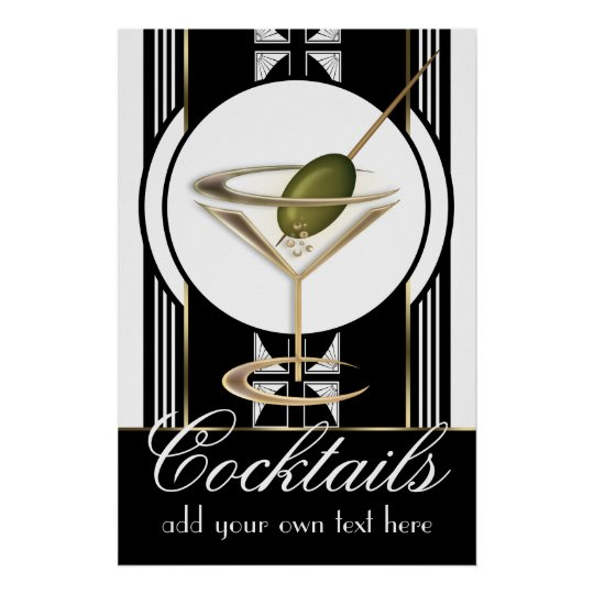 Art Deco Cocktails Large Custom Poster