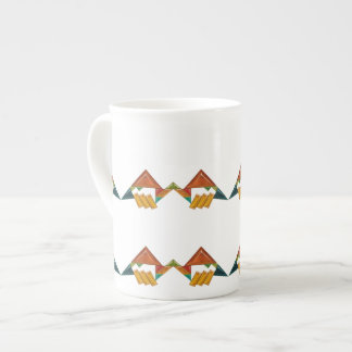 Art Deco Colorful Ornaments Bone China Mug