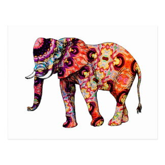 Art Deco Colorful Psychedelic Elephant Postcard