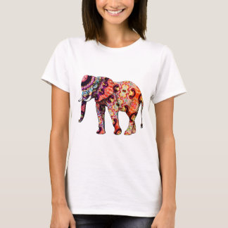 Art Deco Colourful Psychedelic Elephant T-Shirt