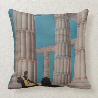 Art Deco Columns Woman & Lion Theater Cushion