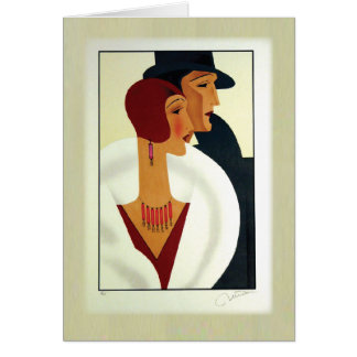 Art Deco Couple 1920s Greeting Card