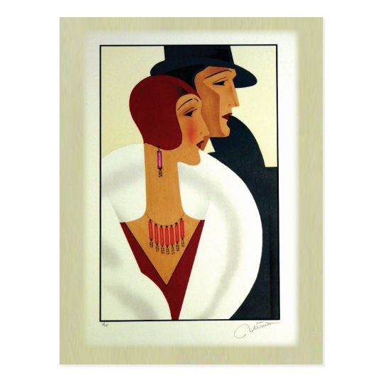 Art Deco Couple 1920s Postcard