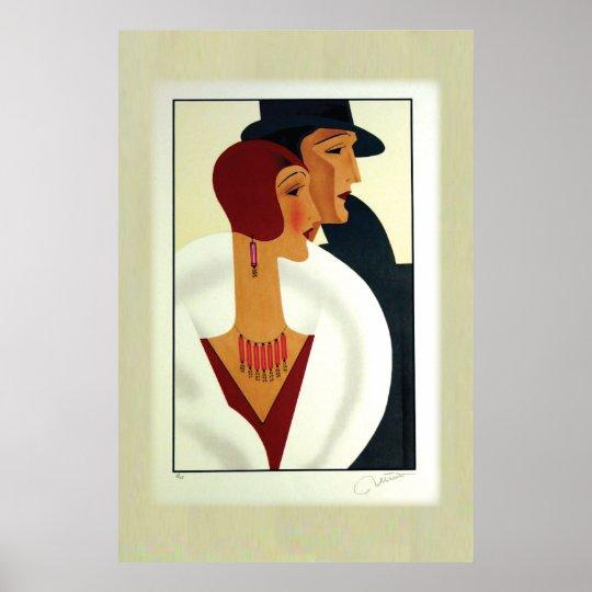 Art Deco Couple 1920s Poster