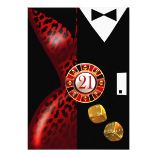 Art Deco Couple 21st Birthday | red leopard Card