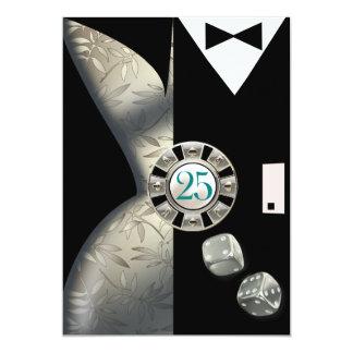 Art Deco Couple 25th Anniversary | silver 13 Cm X 18 Cm Invitation Card
