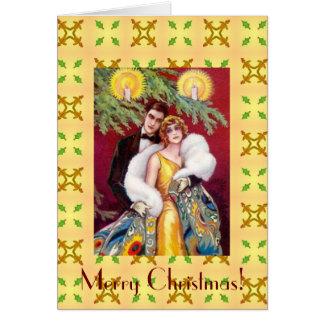 Art Deco Couple Merry Christmas Card