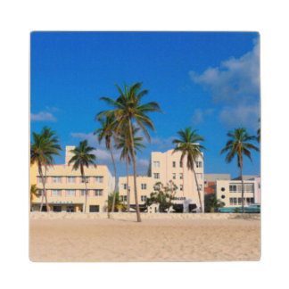 Art Deco District Of South Beach Miami Wood Coaster