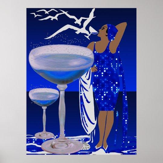 ART DECO Diva LADY Blue Champagne Poster