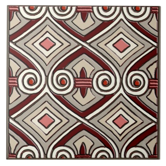 Art Deco Does Persia (Tan,Coral,Grey and Maroon) Tile