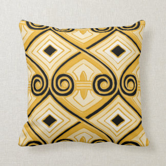 Art Deco Does Persia (Yellow and Black) Cushion