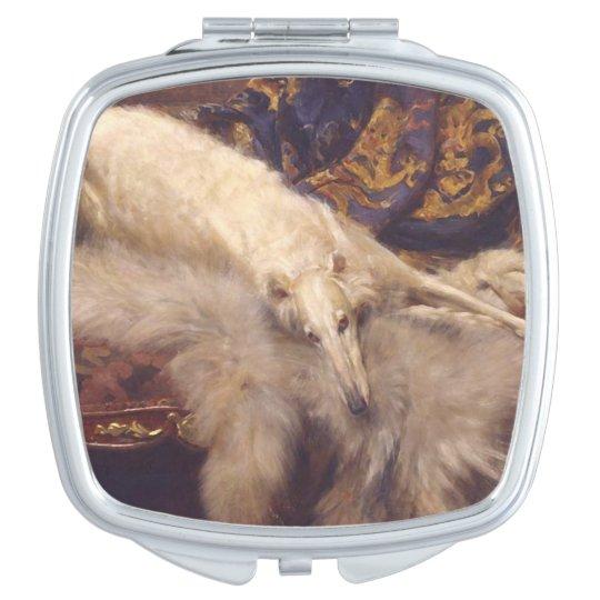 Art Deco Dog Mirrored Compact Travel Mirror